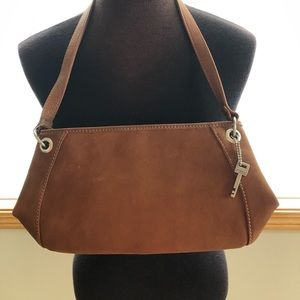 NWT Fossil Leather Top Zip Bag
